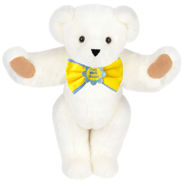 """15"""" """"Get Well"""" Bow Tie Bear - Standing jointed bear dressed in yellow bow tie with blue trim; """"Get Well Soon"""" is embroidered on floral center - Vanilla white fur image number 2"""