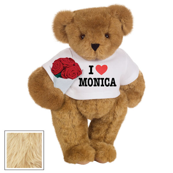 """15"""" """"I HEART You"""" Personalized T-Shirt Bear with Roses - Standing Jointed Bear in white t-shirt that says I """"Heart"""" You in black and red lettering holding a red rose bouquet - Maple image number 7"""
