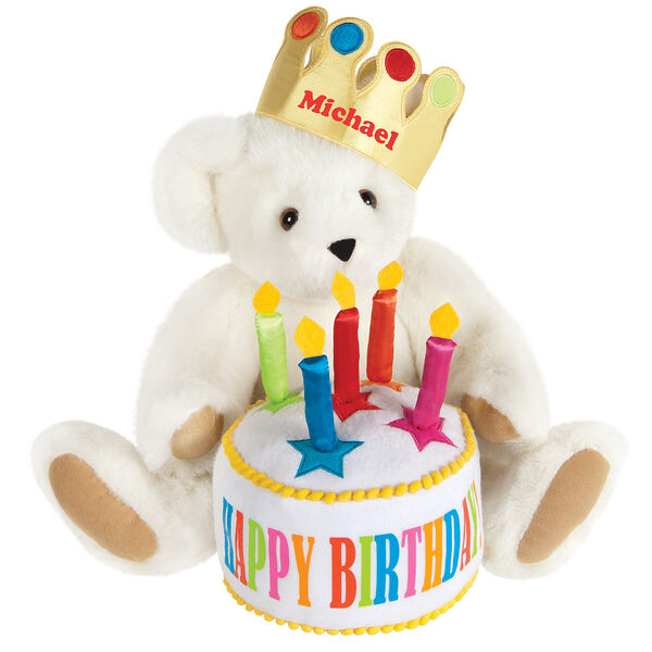 "15"" Happy Birthday Bear - Front view of seated jointed bear dressed in a gold crown with appliqued jewels holding a birthday cake with candles that says ""Happy Birthday"". Crown is personalized with ""Michael"" in red lettering - Vanilla white fur image number 2"
