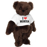 "15"" ""I HEART You"" Personalized T-Shirt Bear - Standing Jointed Bear in white t-shirt that says I ""Heart"" You in black and red lettering - long Espresso brown fur image number 3"