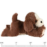 "15"" Belly Puppy Dog -Side view of German Chocolate Bear lying on its belly. Dog has tan muzzle and underside with a ruler below it that measures 15"".  image number 4"