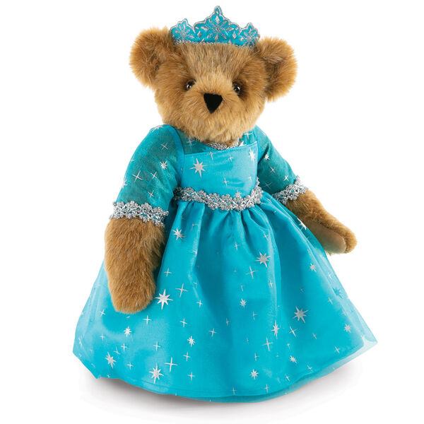 "15"" Winterland Queen Bear - Three quarter view of standing jointed bear dressed in a blue dress with silver star tulle overlay and silver lace trim and blue and silver tiara - honey brown fur image number 0"