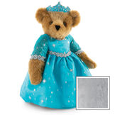"""15"""" Winterland Queen Bear - Three quarter view of standing jointed bear dressed in a blue dress with silver star tulle overlay and silver lace trim and blue and silver tiara - Gray image number 7"""