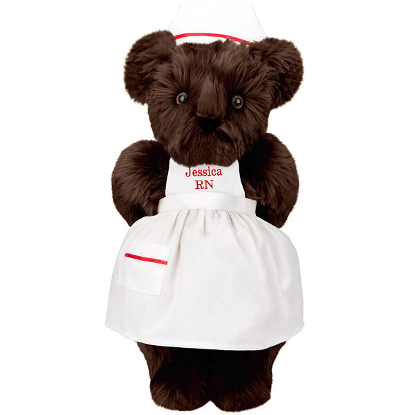 """15"""" Nurse Bear - Front view of standing jointed bear dressed in white nurse's dress and hat with red trim perosnlized with """"Kim RN"""" on bib of dress in red - Espresso brown fur image number 7"""