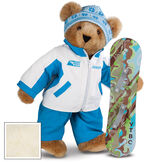 """15"""" Snowboarder Bear - Front view of standing jointed bear dressed in a blue and white snow jacket, blue pants, and holding a snowboard with graphics. Jacket is personalized with """"Jason"""" on the left chest - Buttercream image number 1"""