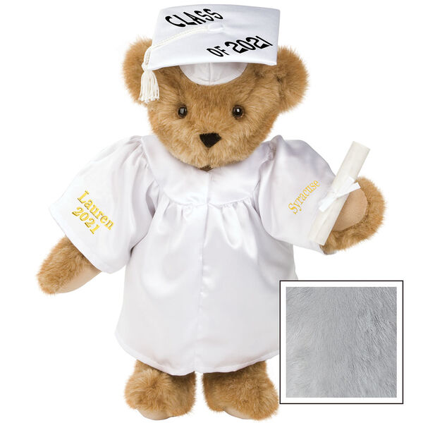 """15"""" Graduation Bear in White Gown - Front view of standing jointed bear dressed in white satin graduation gown and cap and holding a rolled up diploma personalized """"Jackson 2021"""" on right sleeve and """"Syracuse"""" on left in gold - Gray image number 4"""