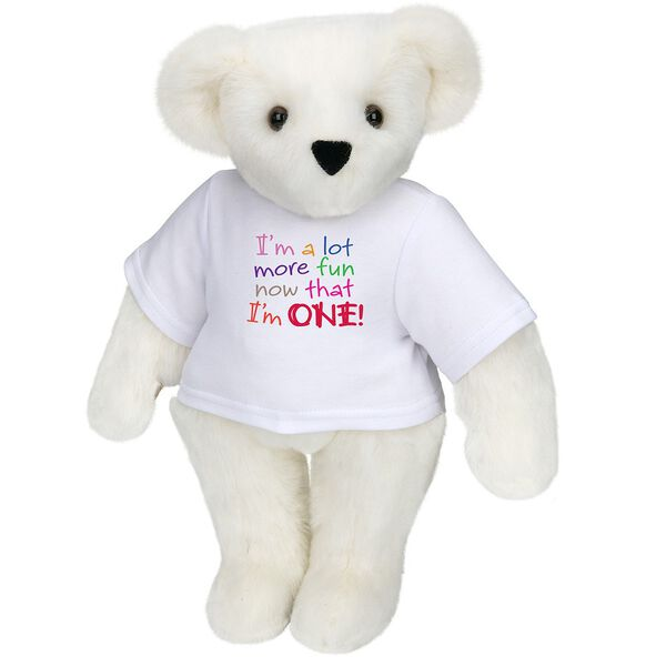 """15"""" Fun at One T-Shirt Bear - Front view of standing jointed bear dressed in white t-shirt with multi-colored graphic that says, """"I'm a lot more fun now that I am one!"""" - Vanilla white fur image number 2"""