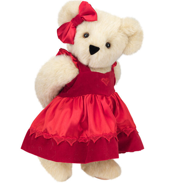 "15"" Sweetheart Teddy Bear - Three quarter view of standing jointed bear dressed in red velvet and satin dress and hair bow with heart lace trim and heart applique on front of dress - Buttercream brown fur image number 1"