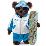 "15"" Snowboarder Bear - Front view of standing jointed bear dressed in a blue and white snow jacket, blue pants, sunglasses and holding a snowboard with graphics. Jacket is personalized with ""Jason"" on the left chest - Espresso brown fur image number 4"