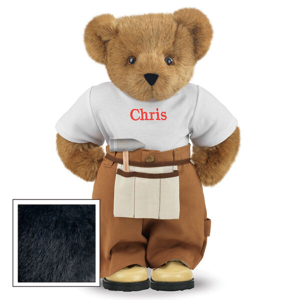 """15"""" Handy Bear - Front view of standing jointed bear dressed in tan work pants, white t-shirt and tan tool belt, personalized with """"Chris"""" on front of t-shirt in red lettering - Black fur image number 3"""