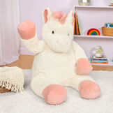 "4' Unicorn - Three quarter view of ivory 48"" unicorn with pink hooves, main, horn and tail image number 0"