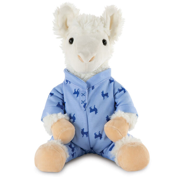 "13"" PJ Pal Llama - Front view of seated white Llama in blue cotton onesie pajamas with llama print image number 8"