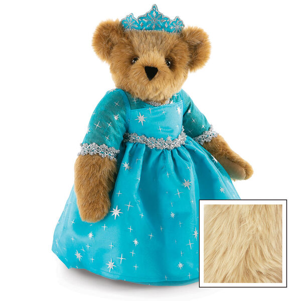 """15"""" Winterland Queen Bear - Three quarter view of standing jointed bear dressed in a blue dress with silver star tulle overlay and silver lace trim and blue and silver tiara - Maple image number 9"""
