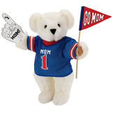 """15"""" Mom's Biggest Fan Bear - Front view of standing jointed bear dressed in a blue shirt with """"Mom 1"""" on front, holding a white foam finger that says """"#1 Mom"""" and a """"Go Mom"""" red flag - Vanilla white fur image number 2"""