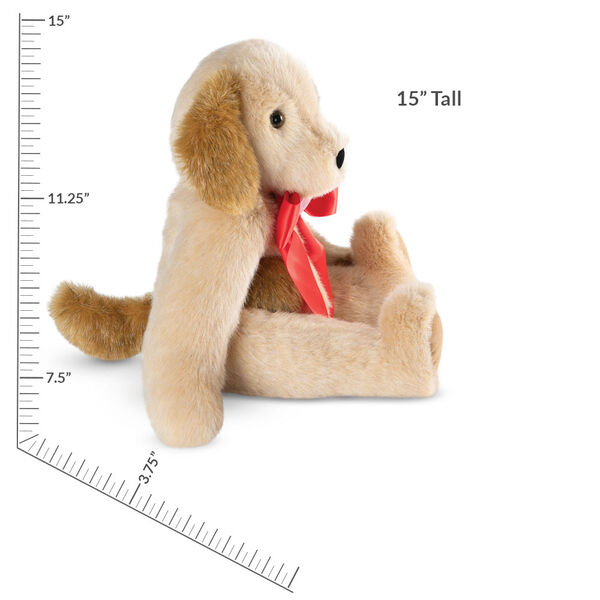 """15"""" Classic Puppy Dog - Side view of seated jointed tan puppy dog with honey brown spots, ears and taildressed in a red satin bow with pink heart in centerwith measurement of about 10 in for the seated height and 15 in for the full height - Buttercream brown fur image number 6"""