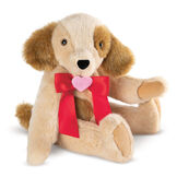 """15"""" Classic Puppy Dog - Three quarter view of seated jointed tan puppy dog with honey brown spots, ears and taildressed in a red satin bow with pink heart in center personalized with """"Sarah"""" in white - Buttercream brown fur image number 5"""
