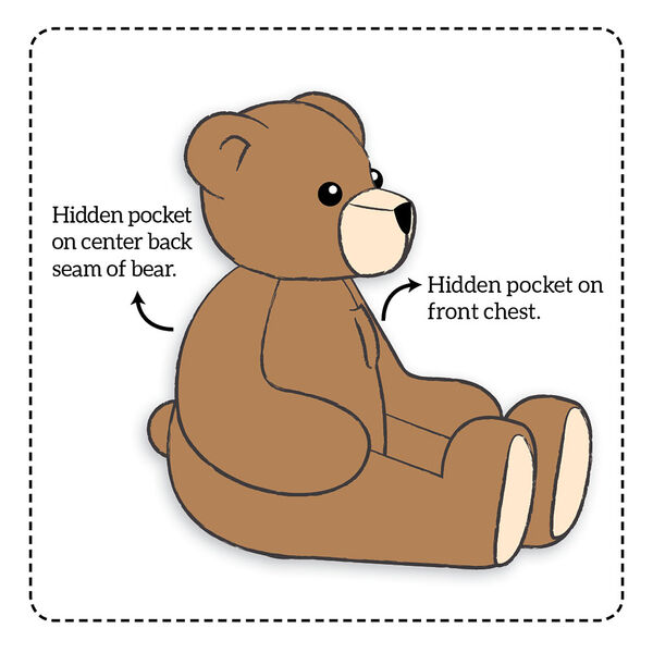 """18"""" Pocket Pal Bear - Sketch of side view of seated bear with text that says, """"Hidden pocket in front chest; Hidden pocket on center back seam of bear"""". image number 5"""