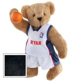 "15"" Basketball Bear - Standing jointed bear dressed in white jersey and shorts with blue and red trim. Bear comes with orange basketball. Center front of shirt is personalized with ""Ryan"" in red lettering - Black fur image number 3"