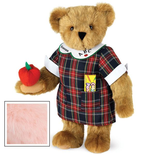 """15"""" Teacher Bear - Standing jointed bear dressed in a navy plaid dress with white teacher collar, colored pencils in the pocket and holding a fabric apple. Collar embroidered with """"ABC""""and personalized with """"Susan"""" in black - Pink fur image number 5"""