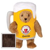 "15"" Cheers to You Bear - Standing jointed bear dressed in gold and white beer mug costume with Vermont Teddy Bear beer bottle graphic that says ""Teddy Beer"". Personalized with David below graphic in black lettering - Espresso brown fur image number 4"