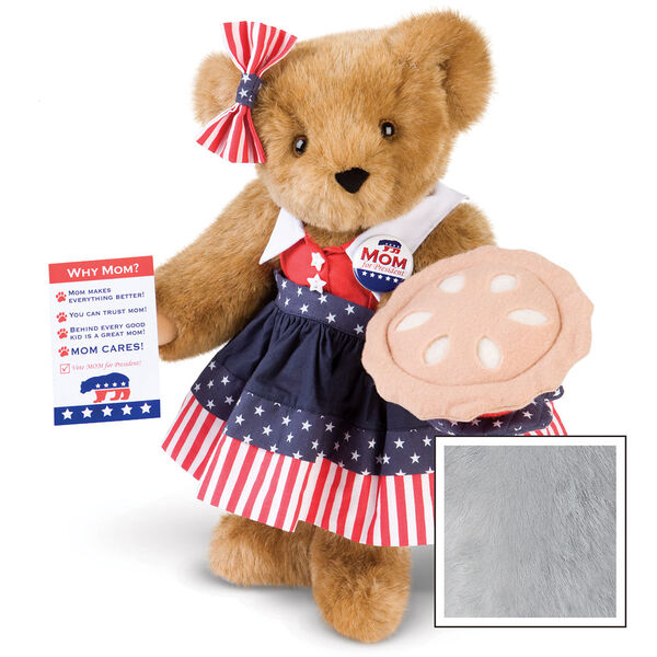 """15"""" Mom for President - Front view of standing jointed bear in a red, white and blue stars and stripes dress with matching head bow, with a """"Mom for President"""" pin holding an apple pie and a voting ballot - Gray image number 4"""