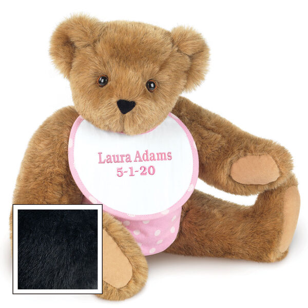 "15"" Baby Girl Bear - Seated jointed bear dressed in pink with white dots fabric diaper and bib. Bib with ""Laura Adams"" and ""5-1-20"" in light pink lettering - Black fur image number 3"