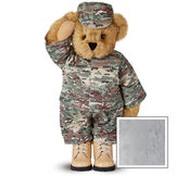 """15"""" Camouflage Bear - Front view of Standing jointed beardressed in a digital camoflage military outfit with American flag on the bear's right sleeve with """"Kennedy"""" personalized on the left chest - Gray image number 4"""