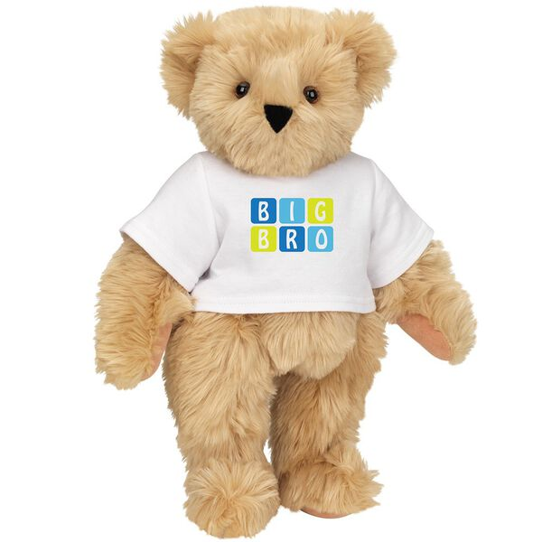 """15"""" BIG BRO T-Shirt Bear - Standing jointed bear dressed in white t-shirt with blue and green graphic that says, """"Big Bro' - Maple brown fur image number 5"""