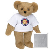 """15"""" Classic Vermont Teddy Bear Logo T-Shirt Bear - Front view of standing jointed bear dressed in white t-shirt with Vermont Teddy logo on front - Gray image number 4"""