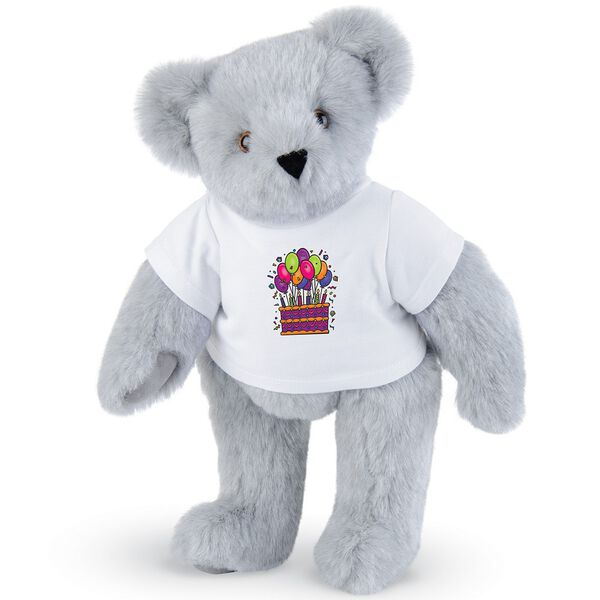 """15"""" Birthday T-Shirt Bear - Standing jointed bear dressed in white t-shirt with colorful birthday cake and balloons - Gray fur image number 4"""