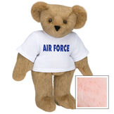 "15"" Air Force T-Shirt Bear - Standing jointed bear dressed in a white t-shirt says, ""AIR FORCE"" in royal blue lettering on the front of the shirt - Pink image number 5"