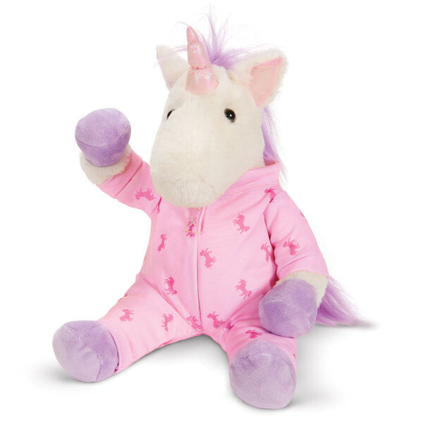 """13"""" PJ Pal Unicorn - Front view of cream unicorn with lavender hooves, horn, main and tail. Wearing pink unicorn print pajamas image number 0"""