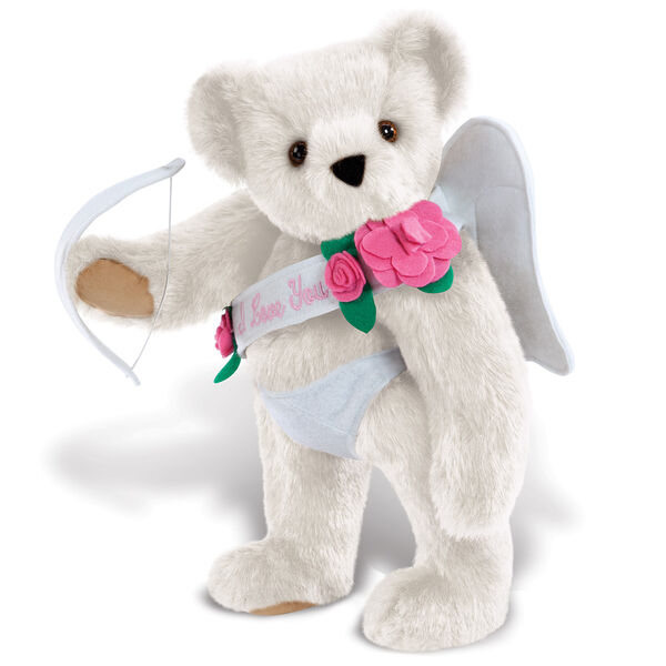 """15"""" Cupid Bear - Three quarter view of standing jointed bear dressed in white diaper, white sash with pink flowers and holding a cupid bow. Sash says """"I Love You"""" - Vanilla white fur image number 2"""