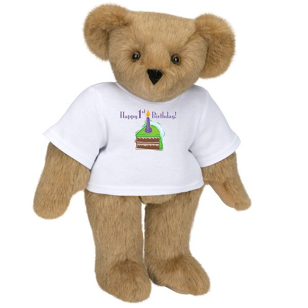 """15"""" 1st Birthday T-Shirt Bear-Chocolate Cake - Standing jointed bear dressed in a white t-shirt with a slice of chocolate cake artwork that says, """"Happy 1st Birthday!"""" on the front of the shirt - Honey brown fur image number 0"""