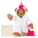 "15"" Unicorn Hoodie Bear - Front view of standing jointed bear dressed in a white fleece hoodie footie with rainbow horn, a hot pink cuffs and fur mane and tail - Buttercream brown fur image number 2"