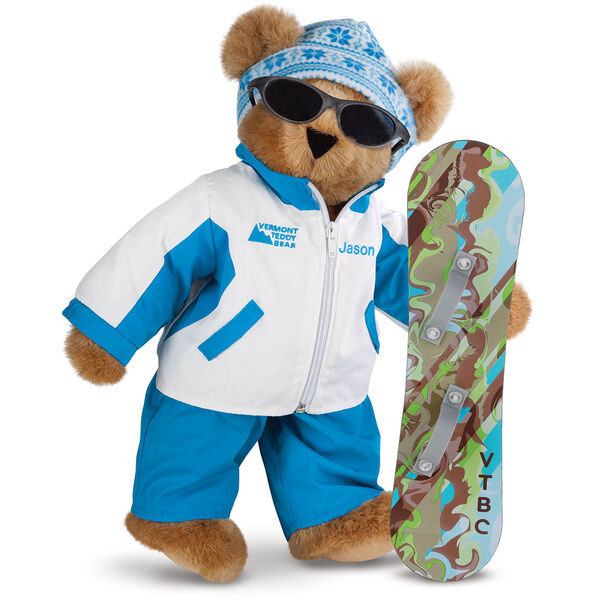 "15"" Snowboarder Bear - Front view of standing jointed bear dressed in a blue and white snow jacket, blue pants, sunglasses and holding a snowboard with graphics. Jacket is personalized with ""Jason"" on the left chest - Honey brown fur image number 0"