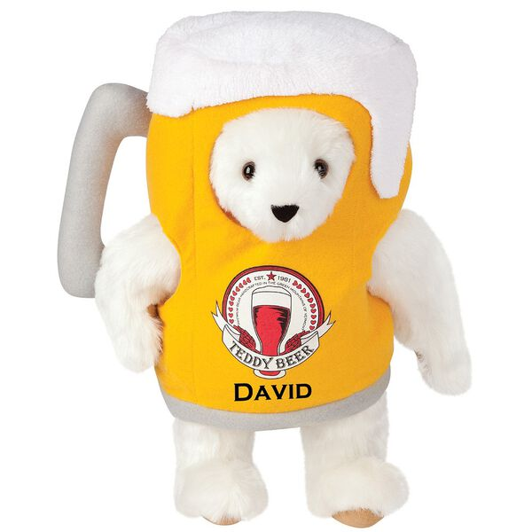 "15"" Cheers to You Bear - Standing jointed bear dressed in gold and white beer mug costume with Vermont Teddy Bear beer bottle graphic that says ""Teddy Beer"". Personalized with David below graphic in black lettering - Vanilla white fur image number 2"