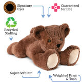 """24"""" Belly Bear - Front view of brown Bear lying on its belly. Text surrounding bear read, """"Signature Eyes, Guaranteed For Life, Recycled Stuffing, Super Soft Fur; Weighted Paws and Tush"""".  image number 3"""