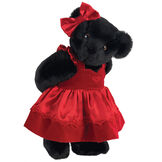 "15"" Sweetheart Teddy Bear - Three quarter view of standing jointed bear dressed in red velvet and satin dress and hair bow with heart lace trim and heart applique on front of dress - Black fur image number 3"