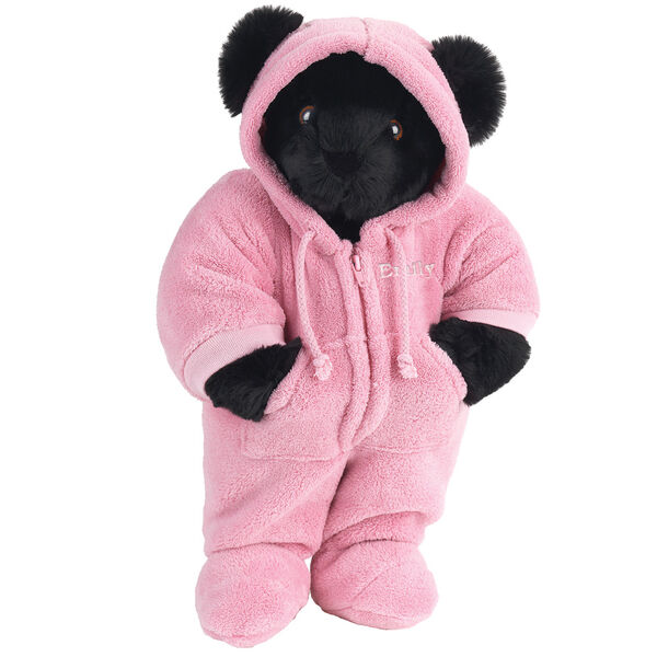 """15"""" Hoodie Footie Bear - Front view of standing jointed bear dressed in pink hoodie footie personalized with """"Emily"""" in white on left chest - Black fur image number 4"""
