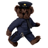 "15"" Police Officer Bear - Three quarter view of standing jointed bear dressed in a nacy blue police uniform with shirt, pants, black tie and hat and holding handcuffs. Personalize with a Police badge - Espresso brown fur image number 6"