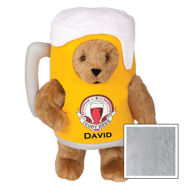 """15"""" Cheers to You Bear - Standing jointed bear dressed in gold and white beer mug costume with Vermont Teddy Bear beer bottle graphic that says """"Teddy Beer"""". Personalized with David below graphic in black lettering - Gray image number 4"""