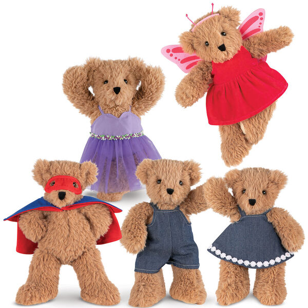"13"" Super Soft Butterfly Bear- 5 Brown Bears dressed in purple ballerina dress; pink butterfly dress with wings and antenna headpiece; super hero red mask and blue and red cape; blue denim overalls; and blue denim dress with white daisy trim.  image number 3"