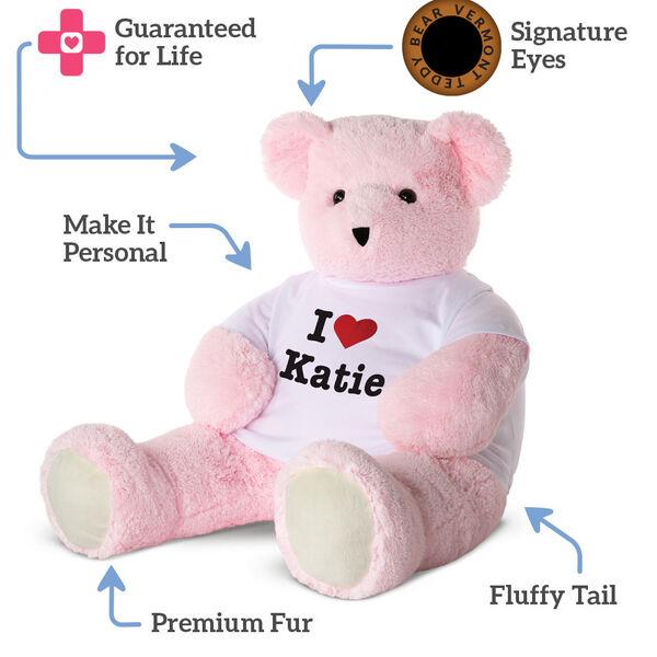 "4' ""I HEART You"" T-Shirt Pink Cuddle Bear image number 4"