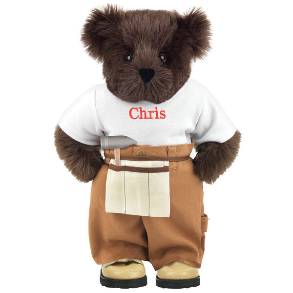 """15"""" Handy Bear - Front view of standing jointed bear dressed in tan work pants, white t-shirt and tan tool belt, personalized with """"Chris"""" on front of t-shirt in red lettering - Espresso brown fur image number 5"""