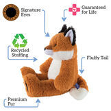 "18"" Oh So Soft Fox - Side view of seated red Fox with white belly, tail and muzzle and black tipped ears and foot padstext reads ""Signature Eyes; Guaranteed For Life; Fluffy Tail; Premium Fur; Recycled Stuffing"".  image number 1"