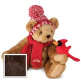 """15"""" Season's Greetings Bear - Front view of seated jointed bear dressed in a knit red and white nordic patterned hat with red scarf and holding a red cardinal. Bottom edge of scarf is personalized with """"Lily"""" in white lettering - Espresso brown fur image number 4"""