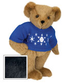 "15"" Chanukah Sweater Bear - Standing jointed bear dressed in blue knit sweater with white Star of Davids embroidered on the front - Black fur image number 3"