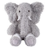 """18"""" Oh So Soft Elephant - Front view of seated gray Elephant with gray foot pads and white tusks and toe nails image number 0"""