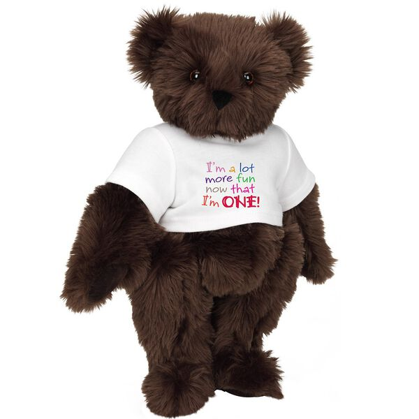 """15"""" Fun at One T-Shirt Bear - Front view of standing jointed bear dressed in white t-shirt with multi-colored graphic that says, """"I'm a lot more fun now that I am one!"""" - Espresso brown fur image number 6"""